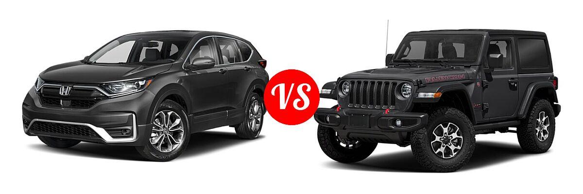 2021 Honda CR-V SUV EX-L vs. 2021 Jeep Wrangler SUV Rubicon - Front Left Comparison