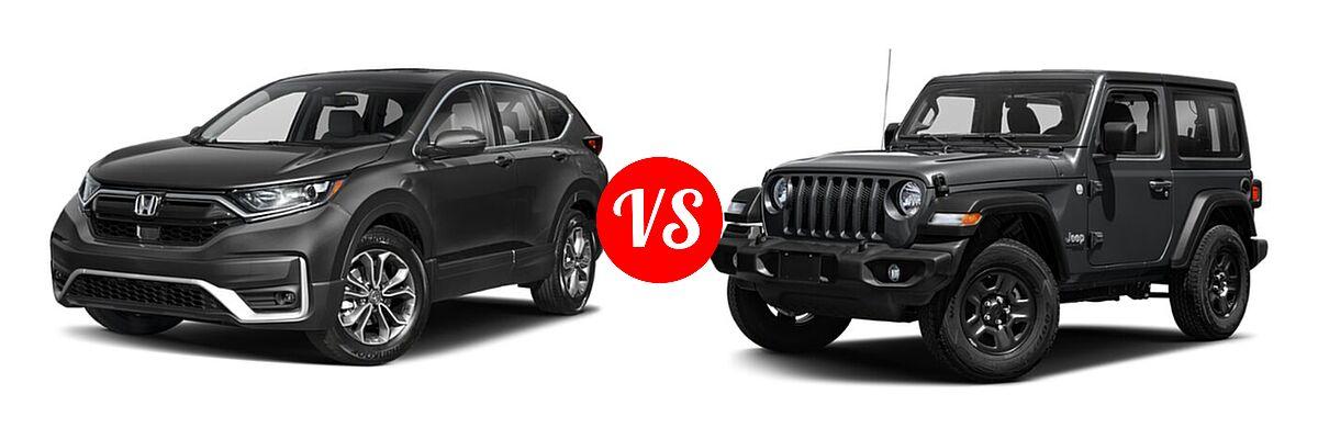 2021 Honda CR-V SUV EX-L vs. 2021 Jeep Wrangler SUV 80th Anniversary / Freedom / Islander / Sport / Sport S / Willys / Willys Sport - Front Left Comparison