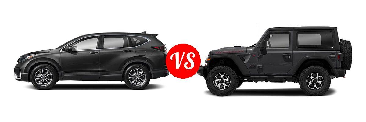 2021 Honda CR-V SUV EX-L vs. 2021 Jeep Wrangler SUV Rubicon - Side Comparison