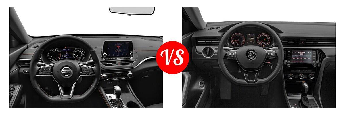 2021 Nissan Altima Sedan 2.0 SR / 2.5 SR vs. 2021 Volkswagen Passat Sedan 2.0T R-Line - Dashboard Comparison