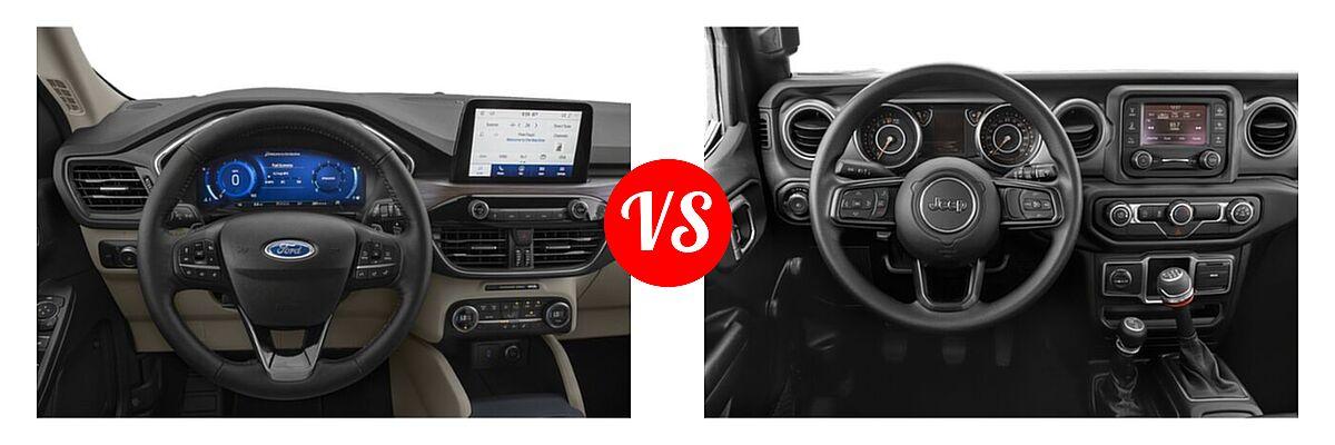 2021 Ford Escape SUV Titanium vs. 2021 Jeep Wrangler SUV 80th Anniversary / Freedom / Islander / Sport / Sport S / Willys / Willys Sport - Dashboard Comparison