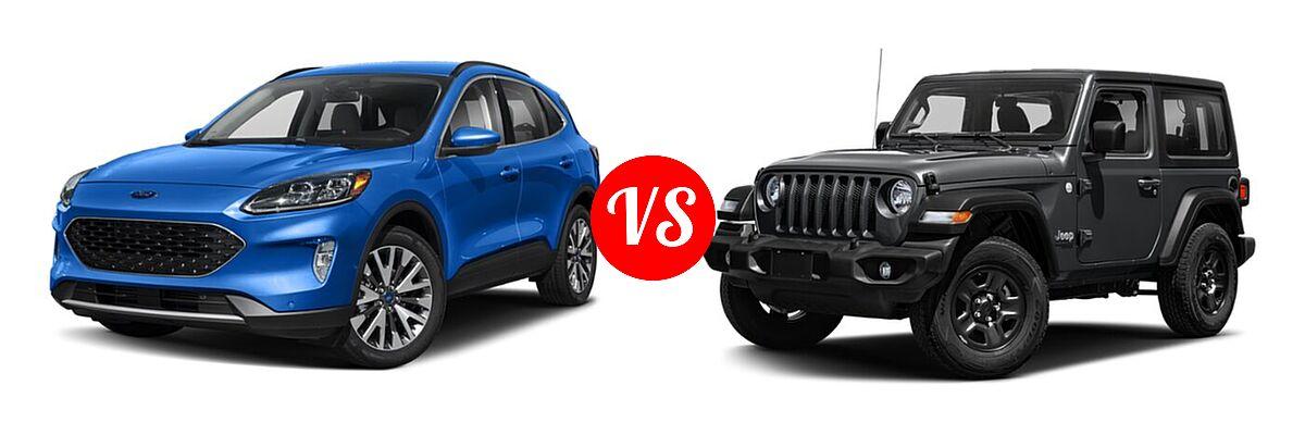 2021 Ford Escape SUV Titanium vs. 2021 Jeep Wrangler SUV 80th Anniversary / Freedom / Islander / Sport / Sport S / Willys / Willys Sport - Front Left Comparison