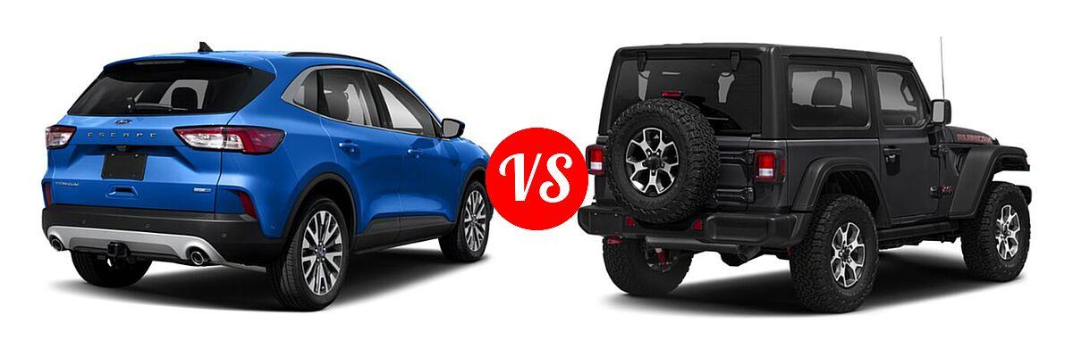 2021 Ford Escape SUV Titanium vs. 2021 Jeep Wrangler SUV Rubicon - Rear Right Comparison