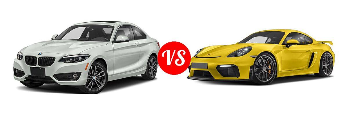 2021 BMW 2 Series Coupe 230i / 230i xDrive vs. 2021 Porsche 718 Cayman Coupe Coupe / GTS 4.0 / S / T - Front Left Comparison