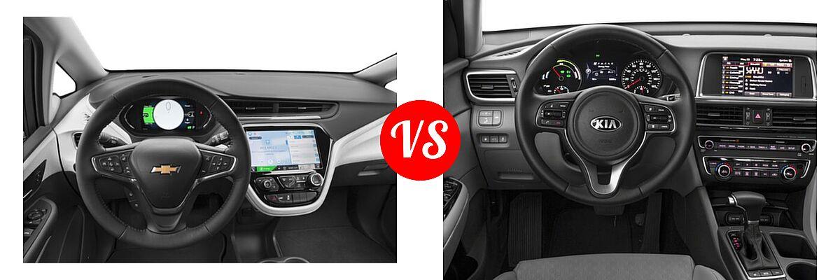 2021 Chevrolet Bolt EV Hatchback Electric Premier vs. 2018 Kia Optima Plug-In Hybrid Sedan EX - Dashboard Comparison