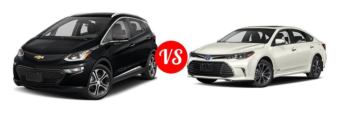2021 Chevrolet Bolt EV Hatchback Electric Premier vs. 2018 Toyota Avalon Hybrid Sedan Hybrid XLE Plus / Hybrid XLE Premium - Front Left Comparison