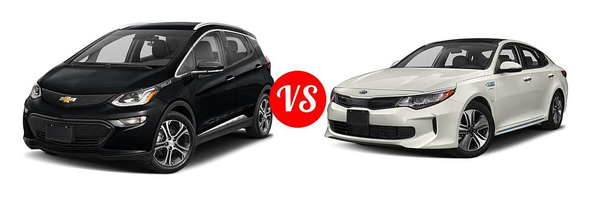 2021 Chevrolet Bolt EV Hatchback Electric Premier vs. 2018 Kia Optima Plug-In Hybrid Sedan EX - Front Left Comparison