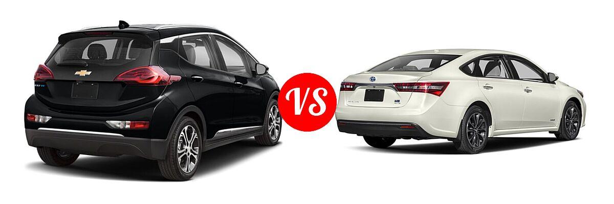 2021 Chevrolet Bolt EV Hatchback Electric Premier vs. 2018 Toyota Avalon Hybrid Sedan Hybrid XLE Plus / Hybrid XLE Premium - Rear Right Comparison