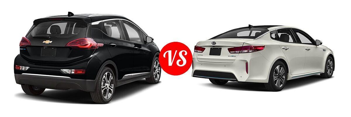 2021 Chevrolet Bolt EV Hatchback Electric Premier vs. 2018 Kia Optima Plug-In Hybrid Sedan EX - Rear Right Comparison