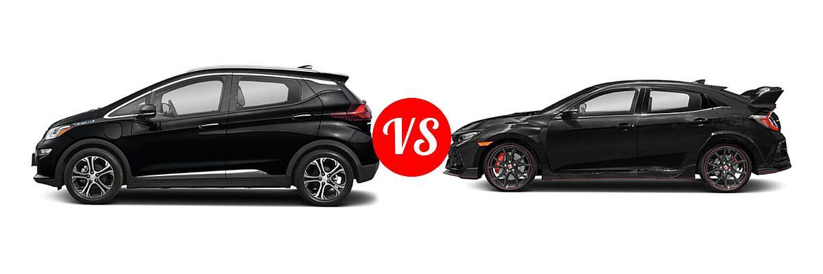 2021 Chevrolet Bolt EV Hatchback Electric Premier vs. 2021 Honda Civic Type R Hatchback Touring - Side Comparison