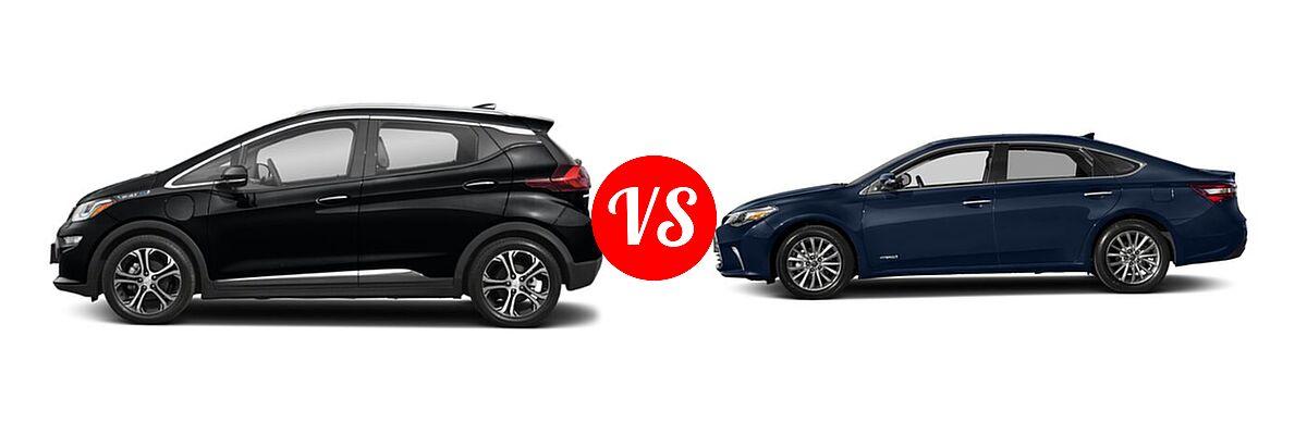 2021 Chevrolet Bolt EV Hatchback Electric Premier vs. 2018 Toyota Avalon Hybrid Sedan Hybrid Limited - Side Comparison