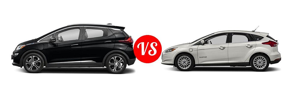 2021 Chevrolet Bolt EV Hatchback Electric Premier vs. 2018 Ford Focus Hatchback Electric Electric - Side Comparison
