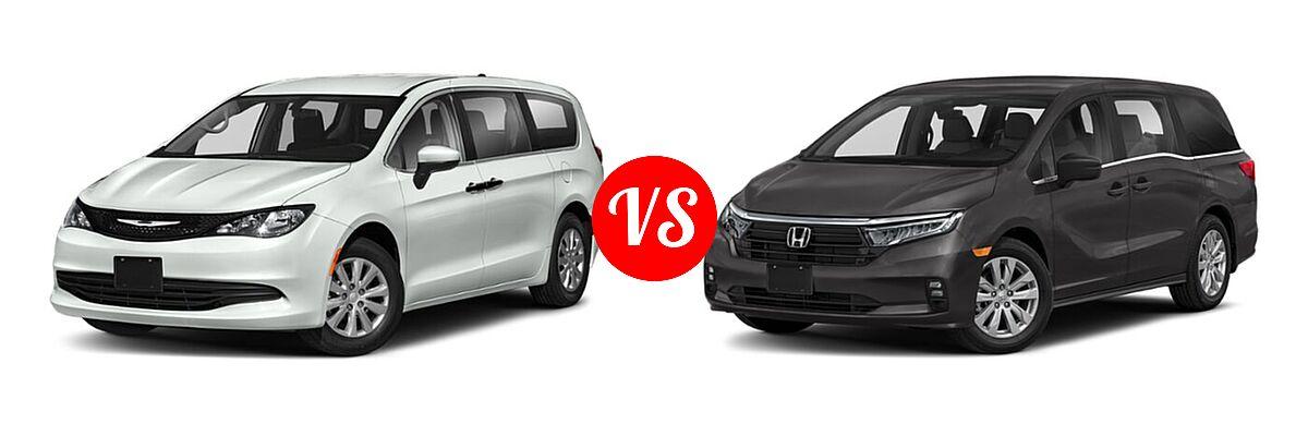 2021 Chrysler Voyager Minivan L / LX vs. 2021 Honda Odyssey Minivan LX - Front Left Comparison