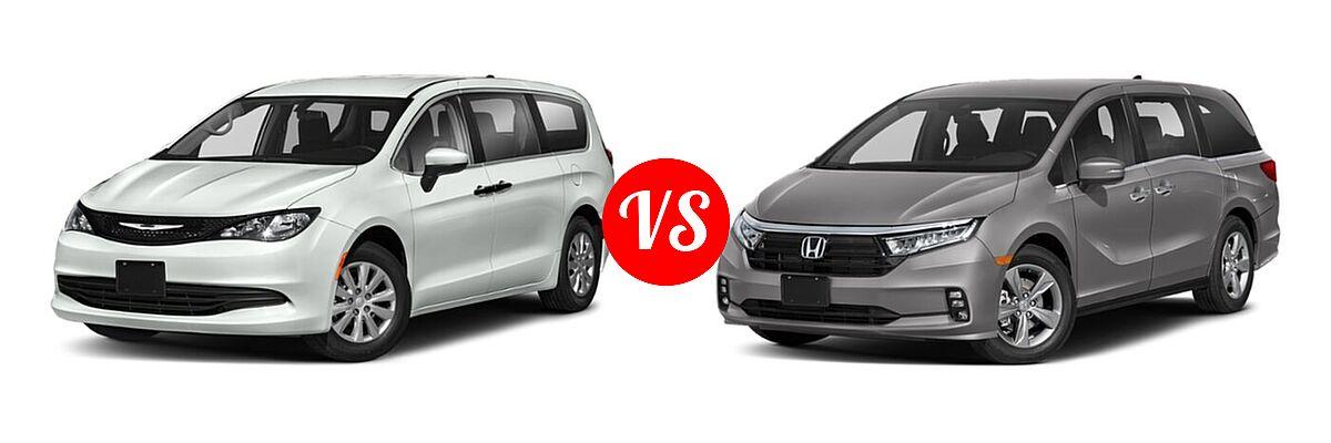 2021 Chrysler Voyager Minivan L / LX vs. 2021 Honda Odyssey Minivan EX - Front Left Comparison
