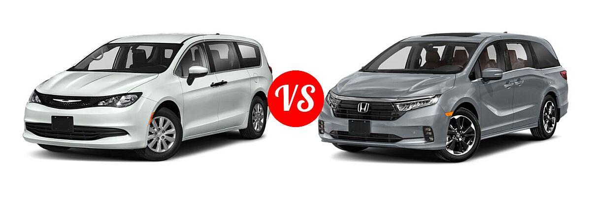 2021 Chrysler Voyager Minivan L / LX vs. 2021 Honda Odyssey Minivan Elite - Front Left Comparison