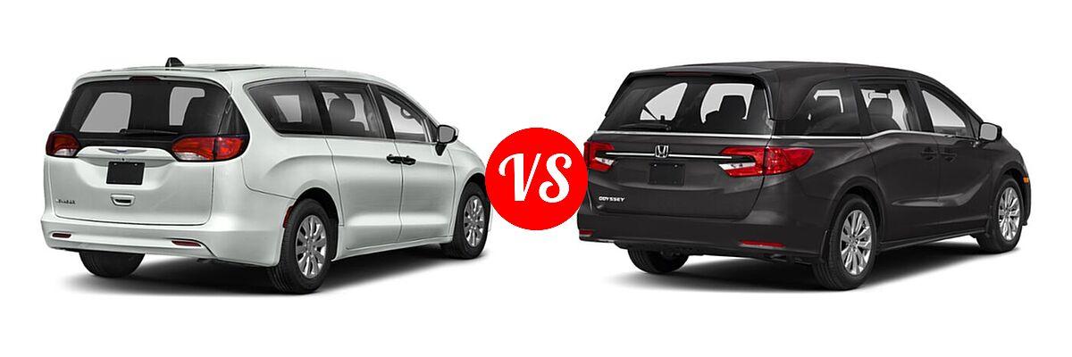 2021 Chrysler Voyager Minivan L / LX vs. 2021 Honda Odyssey Minivan LX - Rear Right Comparison
