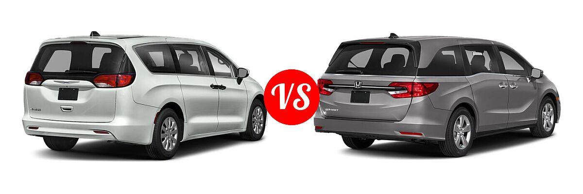 2021 Chrysler Voyager Minivan L / LX vs. 2021 Honda Odyssey Minivan EX - Rear Right Comparison