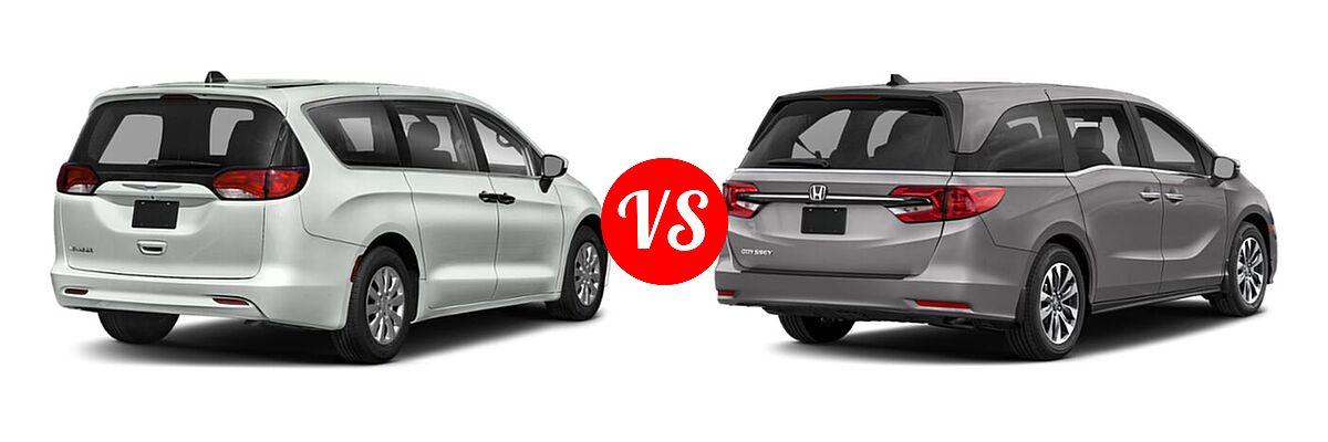 2021 Chrysler Voyager Minivan L / LX vs. 2021 Honda Odyssey Minivan EX-L - Rear Right Comparison