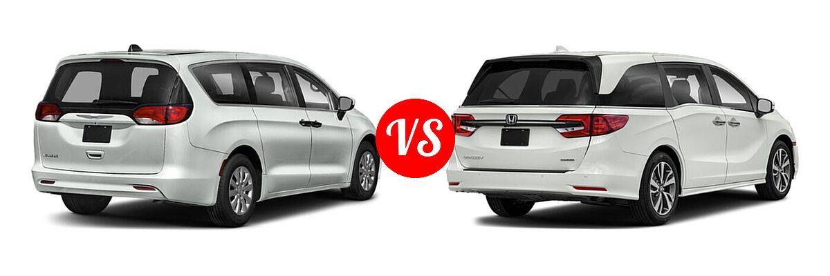 2021 Chrysler Voyager Minivan L / LX vs. 2021 Honda Odyssey Minivan Touring - Rear Right Comparison