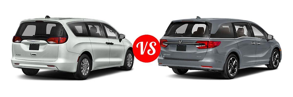 2021 Chrysler Voyager Minivan L / LX vs. 2021 Honda Odyssey Minivan Elite - Rear Right Comparison