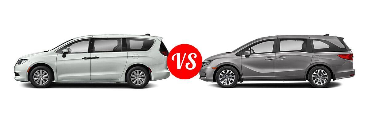 2021 Chrysler Voyager Minivan L / LX vs. 2021 Honda Odyssey Minivan EX-L - Side Comparison