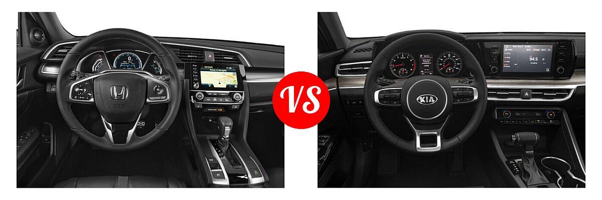 2021 Honda Civic Sedan Touring vs. 2021 Kia K5 Sedan EX - Dashboard Comparison