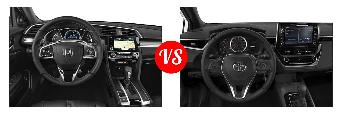 2021 Honda Civic Sedan Touring vs. 2021 Toyota Corolla Sedan Nightshade - Dashboard Comparison