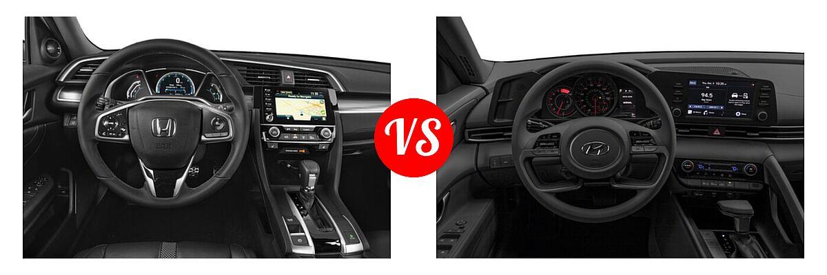 2021 Honda Civic Sedan Touring vs. 2021 Hyundai Elantra Sedan  - Dashboard Comparison