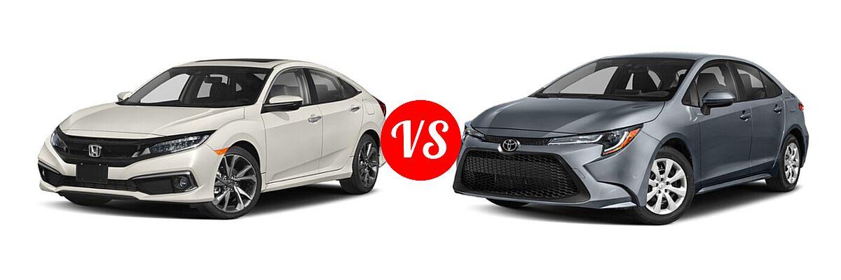 2021 Honda Civic Sedan Touring vs. 2021 Toyota Corolla Sedan L / LE - Front Left Comparison