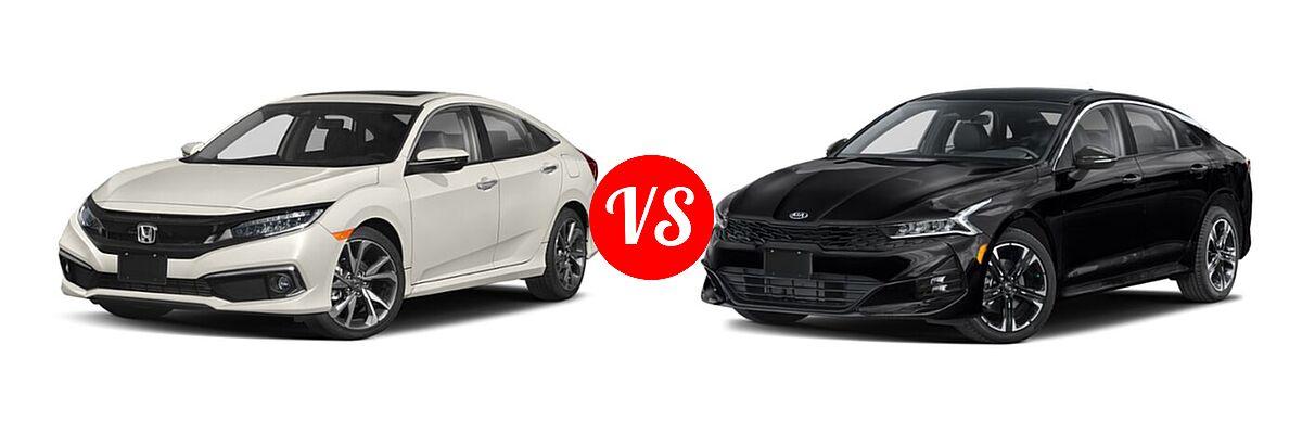 2021 Honda Civic Sedan Touring vs. 2021 Kia K5 Sedan GT-Line - Front Left Comparison