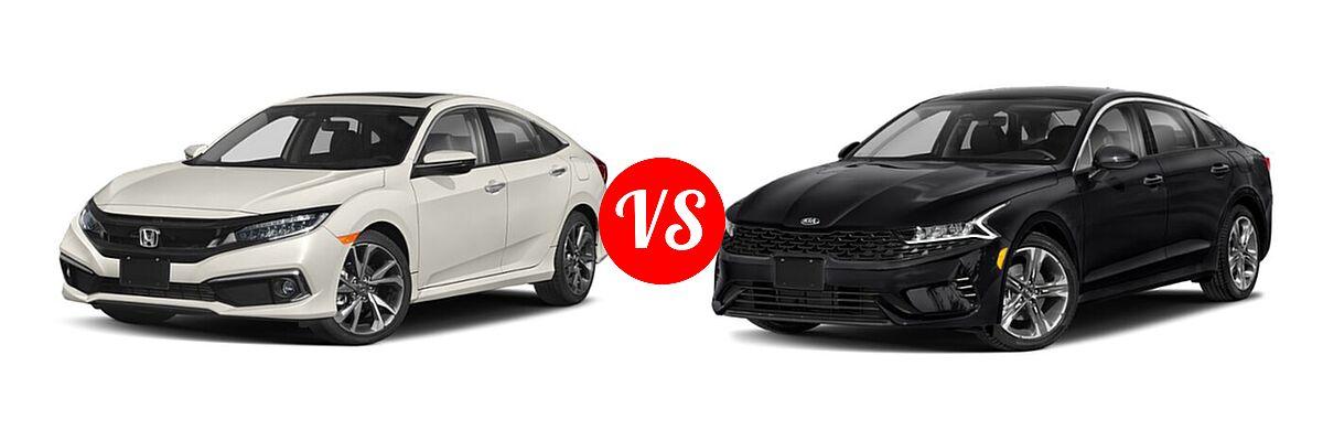 2021 Honda Civic Sedan Touring vs. 2021 Kia K5 Sedan EX - Front Left Comparison