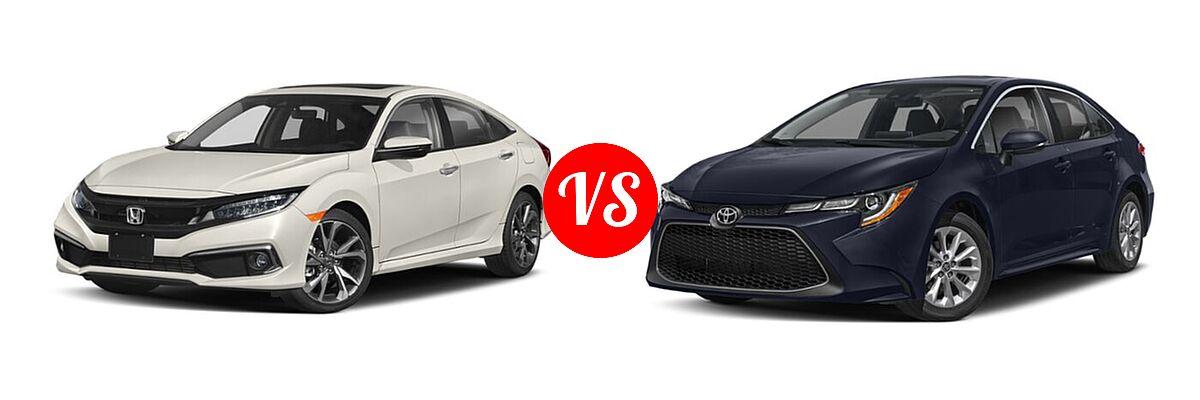 2021 Honda Civic Sedan Touring vs. 2021 Toyota Corolla Sedan XLE - Front Left Comparison