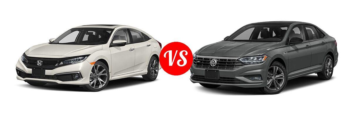2021 Honda Civic Sedan Touring vs. 2021 Volkswagen Jetta Sedan R-Line - Front Left Comparison