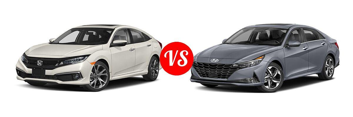 2021 Honda Civic Sedan Touring vs. 2021 Hyundai Elantra Sedan N Line - Front Left Comparison
