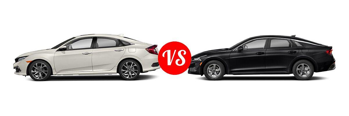 2021 Honda Civic Sedan Touring vs. 2021 Kia K5 Sedan GT / LX / LXS - Side Comparison