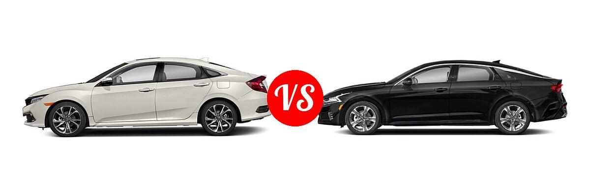 2021 Honda Civic Sedan Touring vs. 2021 Kia K5 Sedan EX - Side Comparison