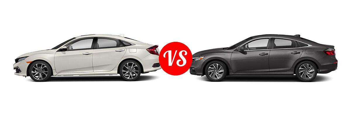 2021 Honda Civic Sedan Touring vs. 2021 Honda Insight Sedan Hybrid Touring - Side Comparison