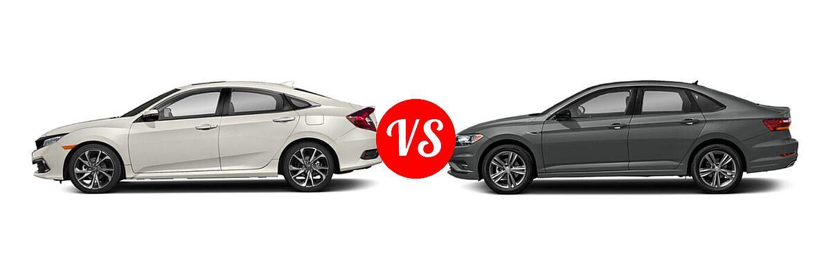 2021 Honda Civic Sedan Touring vs. 2021 Volkswagen Jetta Sedan R-Line - Side Comparison