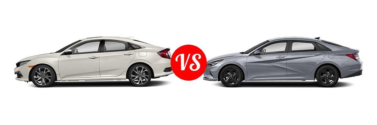 2021 Honda Civic Sedan Touring vs. 2021 Hyundai Elantra Sedan  - Side Comparison