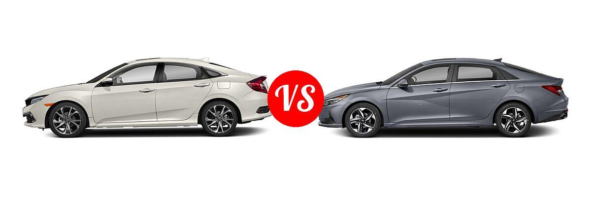 2021 Honda Civic Sedan Touring vs. 2021 Hyundai Elantra Sedan N Line - Side Comparison
