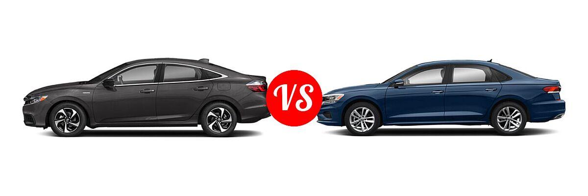 2021 Honda Insight Sedan Hybrid EX vs. 2021 Volkswagen Passat Sedan 2.0T R-Line - Side Comparison