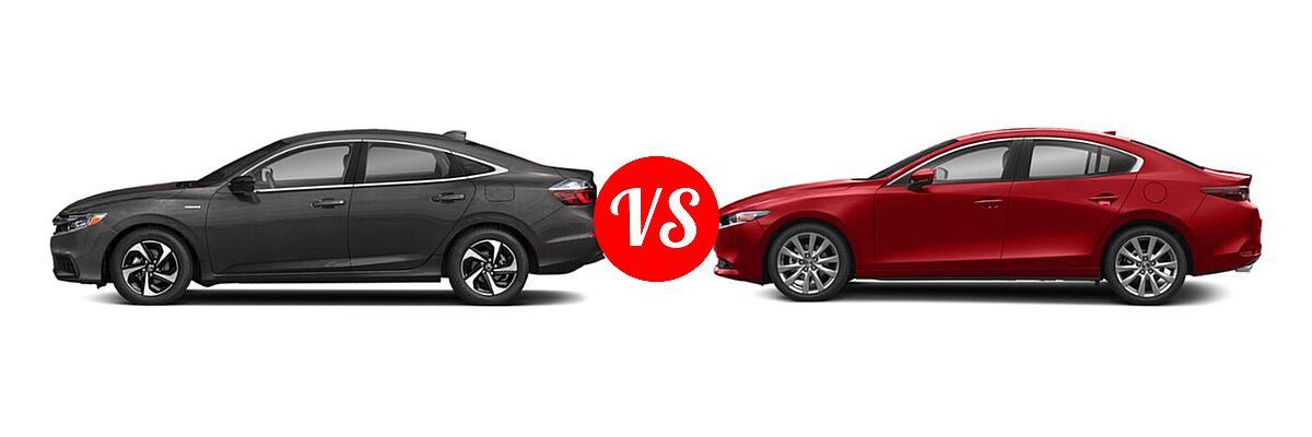 2021 Honda Insight Sedan Hybrid EX vs. 2021 Mazda 2 Sedan Preferred - Side Comparison