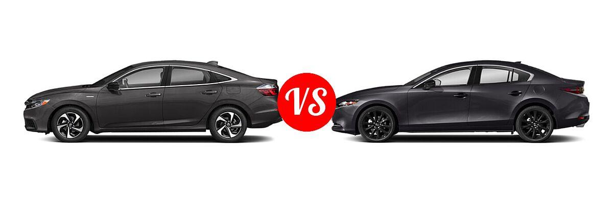 2021 Honda Insight Sedan Hybrid EX vs. 2021 Mazda 2 Sedan 2.5 Turbo - Side Comparison