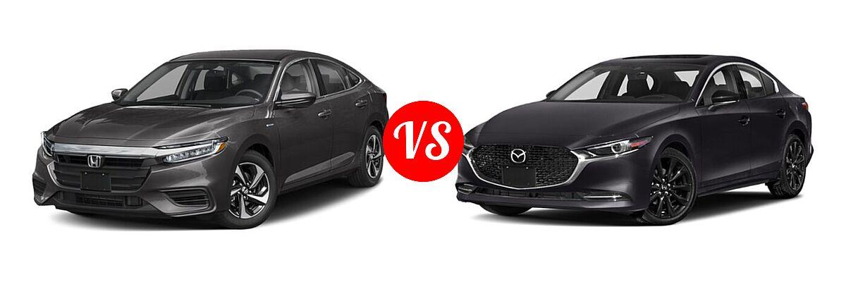 2021 Honda Insight Sedan Hybrid EX vs. 2021 Mazda 2 Sedan 2.5 Turbo - Front Left Comparison