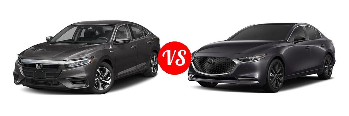 2021 Honda Insight Sedan Hybrid EX vs. 2021 Mazda 2 Sedan 2.5 Turbo Premium Plus - Front Left Comparison