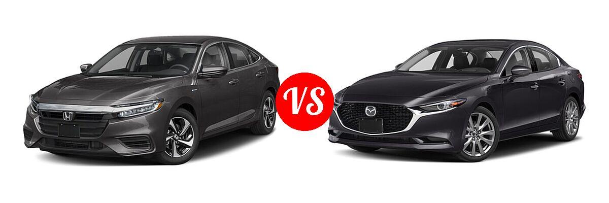 2021 Honda Insight Sedan Hybrid EX vs. 2021 Mazda 2 Sedan Premium - Front Left Comparison