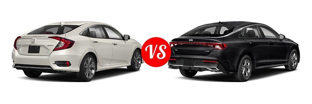 2021 Honda Civic Sedan Touring vs. 2021 Kia K5 Sedan GT / LX / LXS - Rear Right Comparison