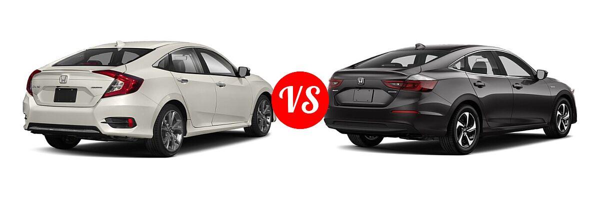 2021 Honda Civic Sedan Touring vs. 2021 Honda Insight Sedan Hybrid LX - Rear Right Comparison
