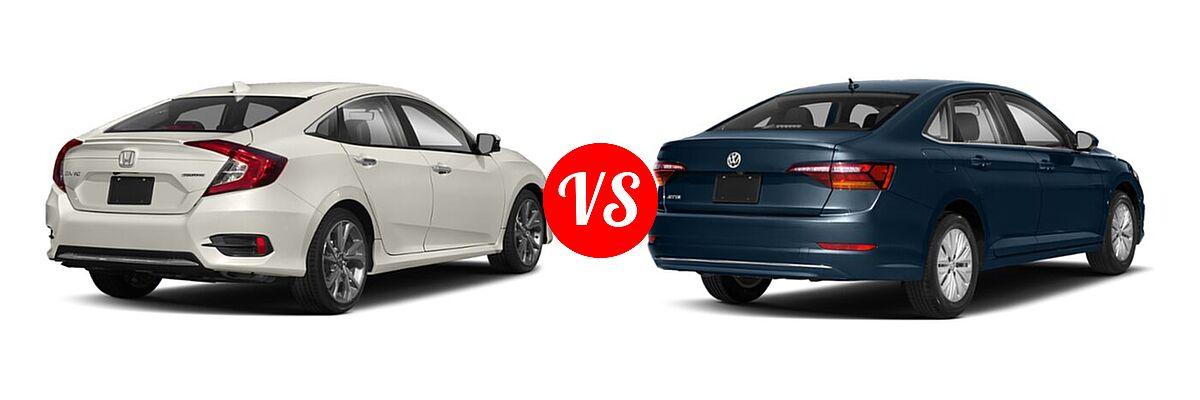 2021 Honda Civic Sedan Touring vs. 2021 Volkswagen Jetta Sedan S / SE / SEL / SEL Premium - Rear Right Comparison