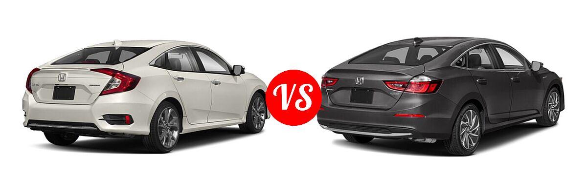2021 Honda Civic Sedan Touring vs. 2021 Honda Insight Sedan Hybrid Touring - Rear Right Comparison